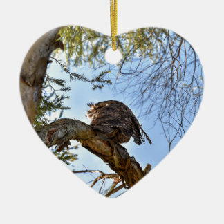 TAWNY FROGMOUTH EULE LÄNDLICHES QUEENSLAND KERAMIK Herz-Ornament