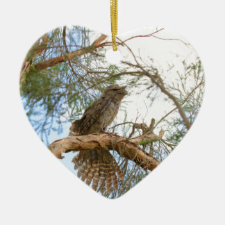 TAWNY FROGMOUTH LÄNDLICHES QUEENSLAND AUSTRALIEN KERAMIK Herz-Ornament
