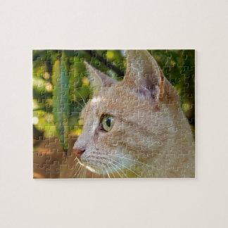 Tawny grüne mit Augen Kitty-Katze Puzzle