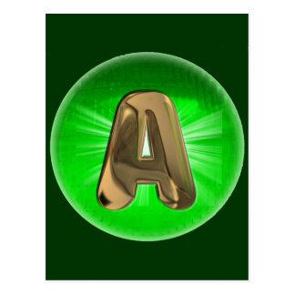 TAXI Goldmonogramm ein grünes Licht Postkarte
