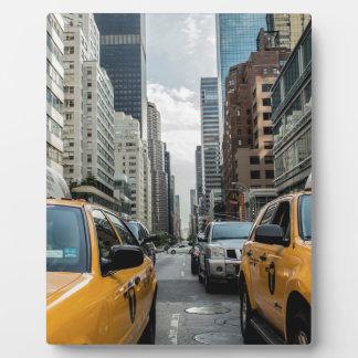 Taxi-Verkehrs-Fahrerhaus-New- Yorkstraßen-Straße Fotoplatte