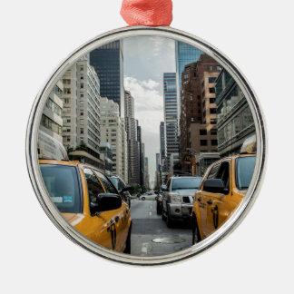 Taxi-Verkehrs-Fahrerhaus-New- Yorkstraßen-Straße Silbernes Ornament