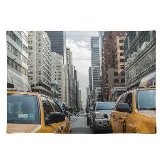 Taxi-Verkehrs-Fahrerhaus-New- Yorkstraßen-Straße Tischset