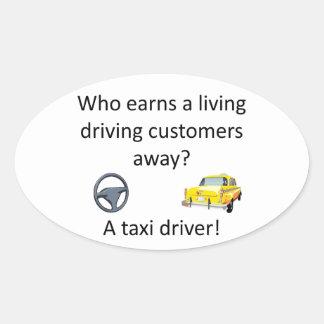Taxi-Witz Ovaler Aufkleber