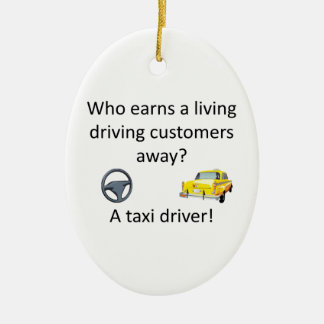 Taxi-Witz Ovales Keramik Ornament