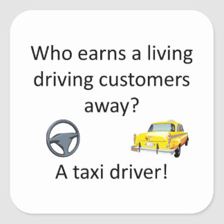 Taxi-Witz Quadratischer Aufkleber