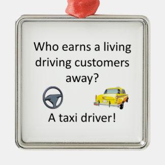 Taxi-Witz Quadratisches Silberfarbenes Ornament
