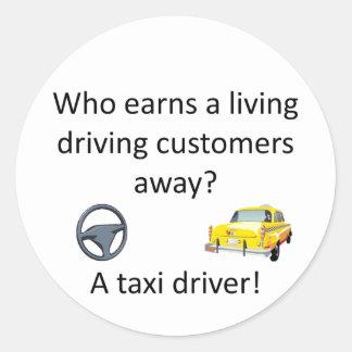 Taxi-Witz Runder Aufkleber