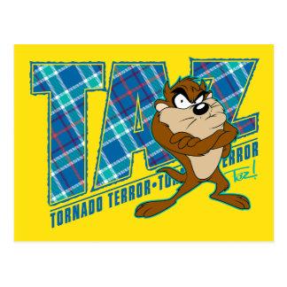 TAZ™ Tornado-Terror kariert Postkarte