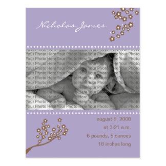 {TBA} Baby-Geburts-Mitteilungs-lila Niederlassung Postkarte