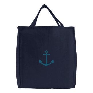TBA gestickter aquamariner Anker auf blauer Tasche