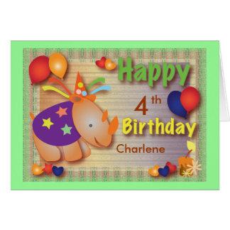 Tba-Preis-Sieger: Baby-Nashorn:: Geburtstags-Gruß Karte