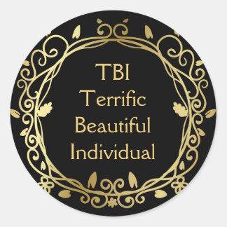TBI schreckliches schönes einzelnes Gold auf Runder Aufkleber
