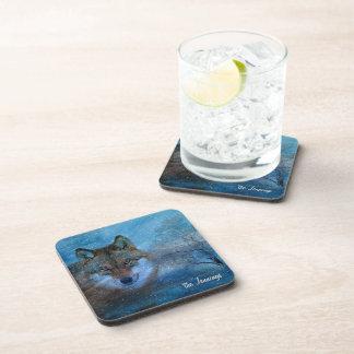 TCWC - Blaues Wolf-Weihnachten Getränk Untersetzer