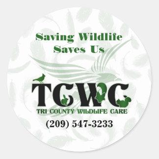 TCWC - Das Logo, das wild lebende Tiere rettet, Runder Aufkleber