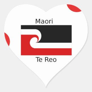 Te Reo Sprache und Maori- Flaggen-Entwurf Herz-Aufkleber