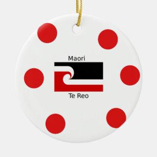 Te Reo Sprache und Maori- Flaggen-Entwurf Keramik Ornament