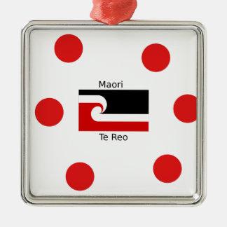 Te Reo Sprache und Maori- Flaggen-Entwurf Silbernes Ornament