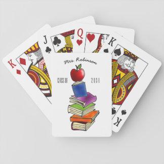 TeacherApple mit Buch-Stapel Spielkarten