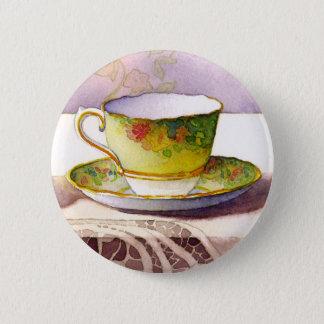 Teacup 0001 auf Spitze-Knopf Runder Button 5,7 Cm