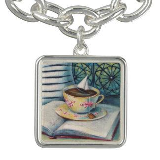 Teacup-Buch-u. Segelboot-silbernes Charme-Armband Charm Armband