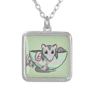Teacup-Opossum! Versilberte Kette