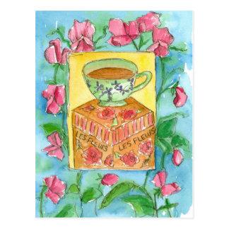 Teacup-rosa süße Erbsen-BlumenWatercolor Postkarte