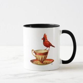 Teacup und roter Kardinal Tasse