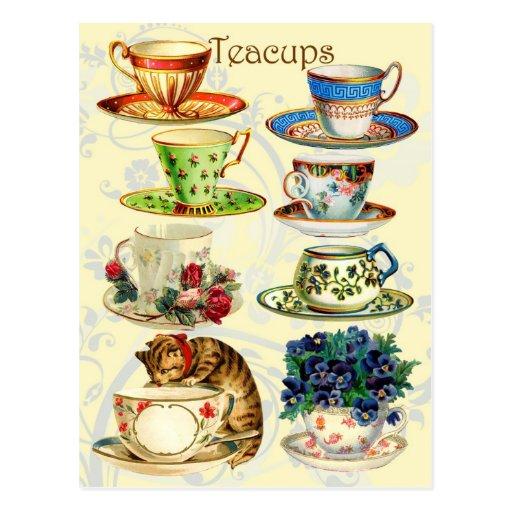 Teacups für Tee-Zeit Postkarte