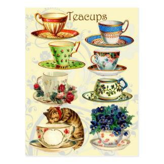 Teacups für Tee-Zeit Postkarten