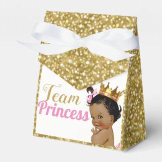 Team-afrikanische Prinzessin Gold Glitter Favor Geschenkschachtel