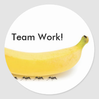 Team-Arbeits-Banane u. Ameisen - lustig Runder Aufkleber