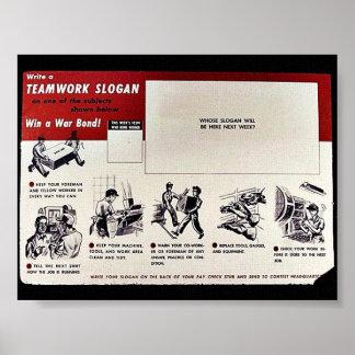 Team-Arbeits-Slogan, gewinnen eine Kriegs-Bindung! Posterdrucke