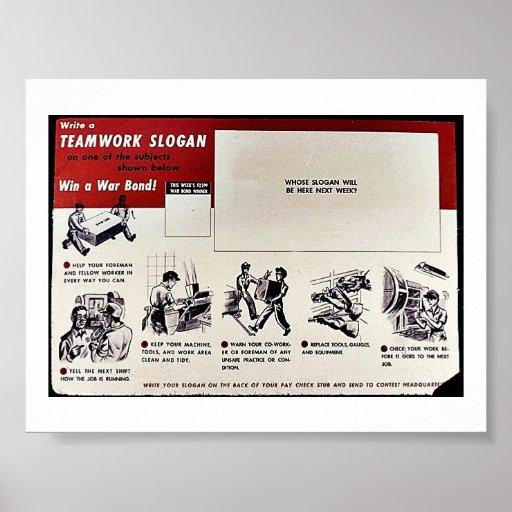 Team-Arbeits-Slogan, gewinnen eine Kriegs-Bindung! Plakat