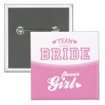 Team-Braut-Blumen-Mädchen-Knopf Buttons