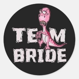 Team-Braut-Rosa-Dinosaurier-Brautparty Runder Aufkleber