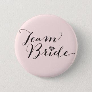 Team-Braut-Skript-Diamant-Hochzeits-Brautparty Runder Button 5,7 Cm