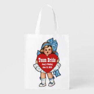 Team-Braut-Vintages Mädchen mit Herzen Wiederverwendbare Einkaufstasche