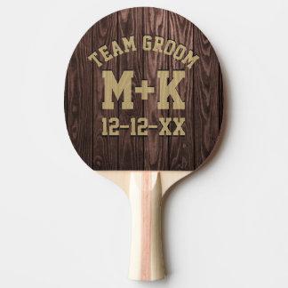 Team-Bräutigam-rustikales Hochzeits-Klingeln Pong Tischtennis Schläger