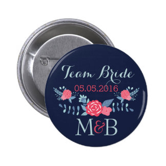 Team Brautknopfmarine und rosa Monogrammhochzeit Buttons