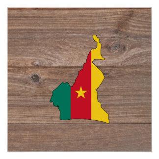 Team Cameroon-Flaggen-Karte auf Holz Poster