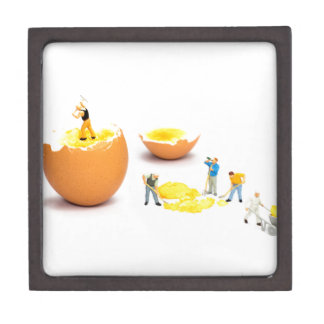 Team der menschlichen Miniaturfigürchen, die Ei Schachtel