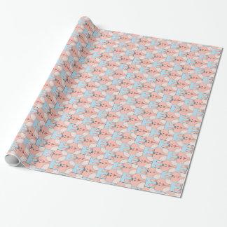 Team-Häschen Face_Pink und blaues v2 Geschenkpapierrolle