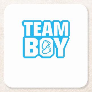 Team-Jungen-Babyparty-Geschlecht decken lustige Rechteckiger Pappuntersetzer