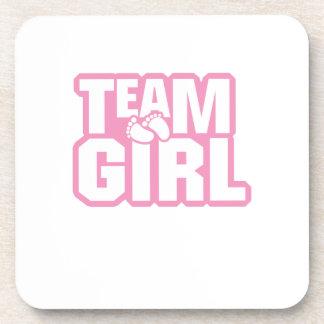Team-Mädchen-Babyparty-Geschlecht decken lustiges Untersetzer
