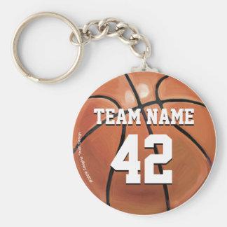 Team-Namen-und Zahl-Basketball Standard Runder Schlüsselanhänger