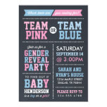 Team-Rosa oder Team-blaues Tafel-Geschlecht decken Individuelle Einladungskarte