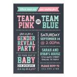 Team-Rosa oder Team-blaues Tafel-Geschlecht decken Individuelle Einladung