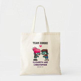 Team-Zombie-niedliche Zombie-Paar-Hochzeit Tragetasche