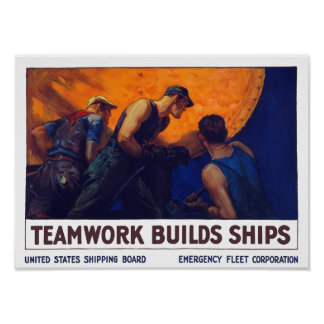 Teamwork-Gestalt-Schiffe -- Erster Weltkrieg Poster